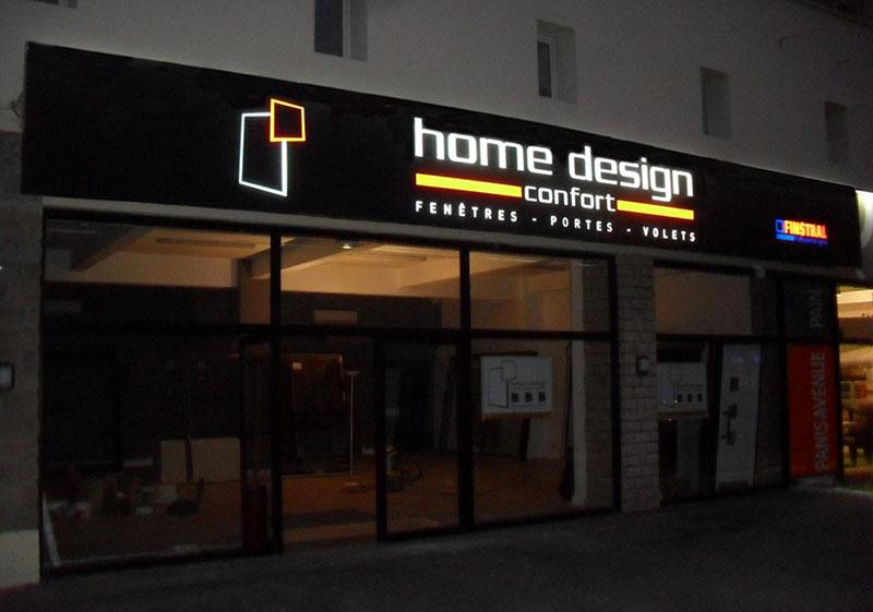 Enseigne lumineuse Home Design Confort en tole ajourée sur Frejus, Cannes