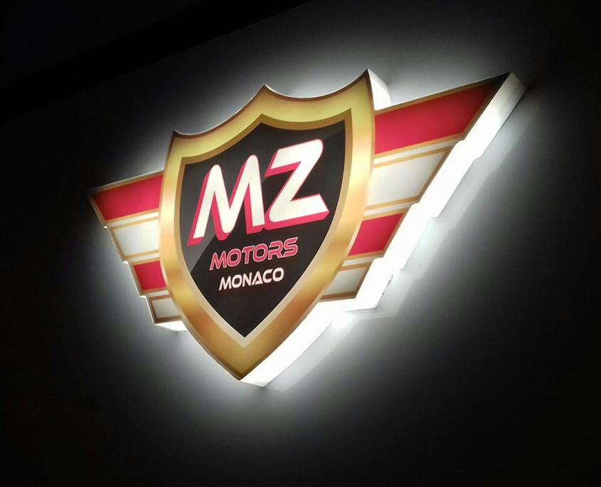 Logo lumineux MZ MOTORS - détail 2